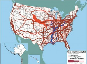 Figure 2-5. Tonnage on U.S. highways, railroads, and inland waterways (U.S. Department of Transportation FHWA FM&O 2007).