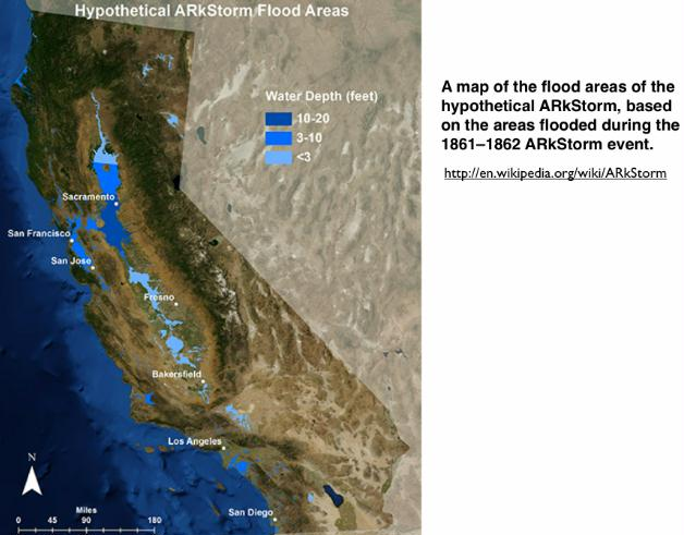 ARkStorm flood map of California | Peak Energy & Resources, Climate on